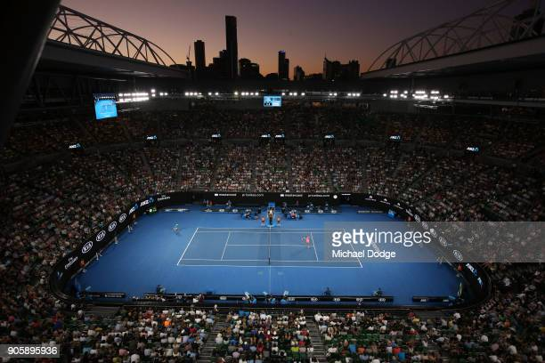 A general view of Rod Laver Arena as Grigor Dimitrov of Bulgaria plays a forehand in his second round match against Mackenzie McDonald of the United...