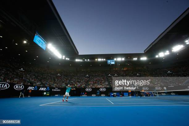 A general view of Rod Laver Arena as Mackenzie McDonald of the United States is seen playing a forehand in his second round match against Grigor...