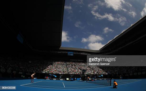 A general view of Rod Laver Arena as Madison Keys of the United States serves in her quarterfinal match against Angelique Kerber of Germany on day 10...