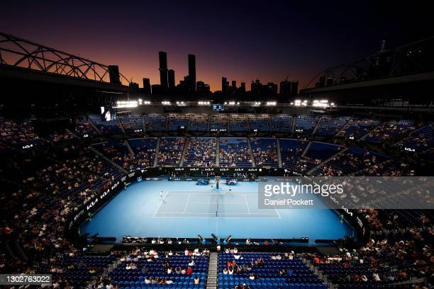 General view of Rod Laver Arena as Novak Djokovic of Serbia competes against Aslan Karatsev of Russia in their Men's Singles Semifinals match during...