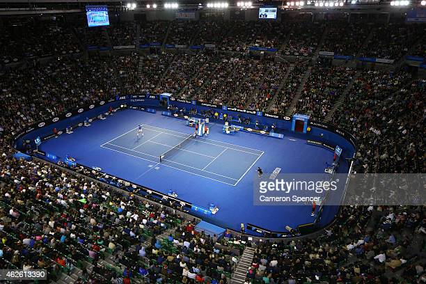A general view of Rod Laver Arena as Novak Djokovic of Serbia plays a forehand in his men's final match against Andy Murray of Great Britain during...