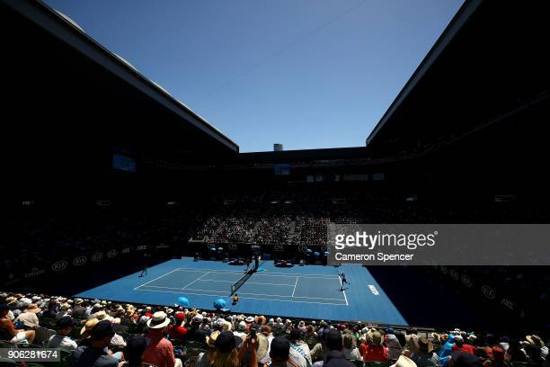 A general view of Rod Laver Arena as spectators watch the second round match between Novak Djokovic of Serbia and Gael Monfils of France in hot...