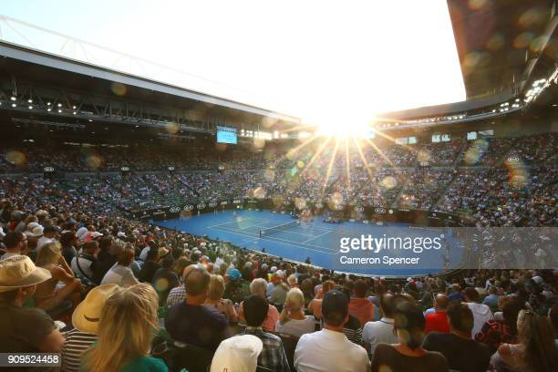General view of Rod Laver Arena at sunset during the quarter-final match between Roger Federer of Switzerland and Tomas Berdych of the Czech Republic...