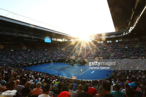 A general view of Rod Laver Arena at sunset during the quarterfinal match between Roger Federer of Switzerland and Tomas Berdych of the Czech...