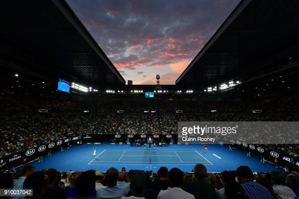 A general view of Rod Laver Arena at sunset during the semifinal match between Marin Cilic of Croatia and Kyle Edmund of Great Britain on day 11 of...