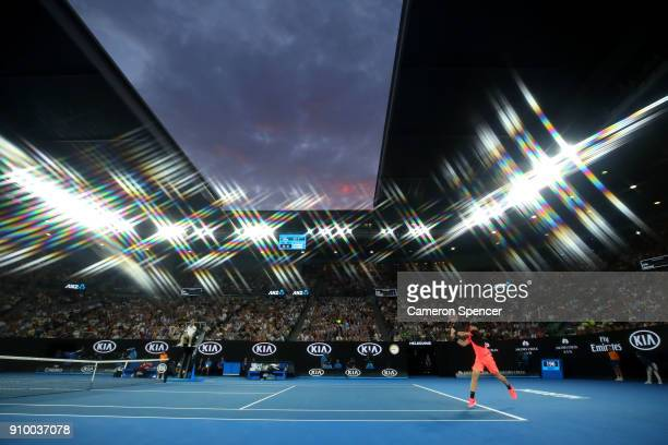 General view of Rod Laver Arena at sunset during the semi-final match between Marin Cilic of Croatia and Kyle Edmund of Great Britain on day 11 of...