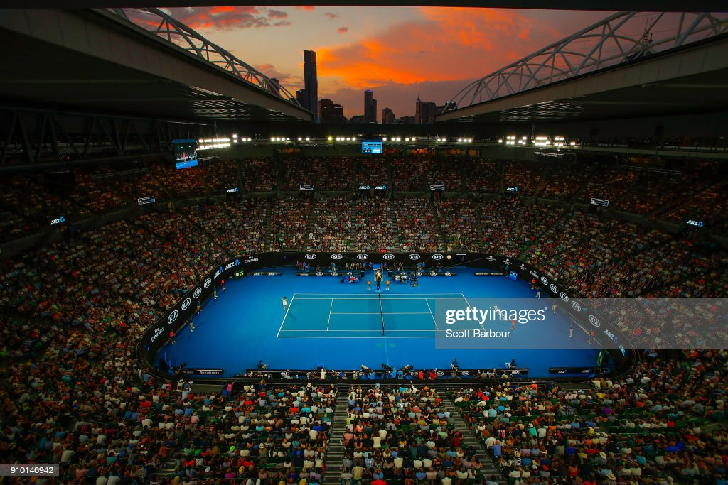 A general view of Rod Laver Arena at sunset during the semi-final match between Marin Cilic of Croatia and Kyle Edmund of Great Britain on day 11 of the 2018 Australian Open at Melbourne Park on January 25, 2018 in Melbourne, Australia.