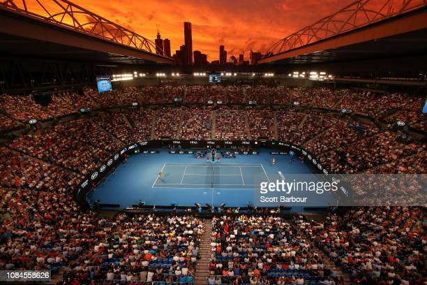 A general view of Rod Laver Arena at sunset in the third round match between Alex De Minaur of Australia and Rafael Nadal of Spain during day five of...