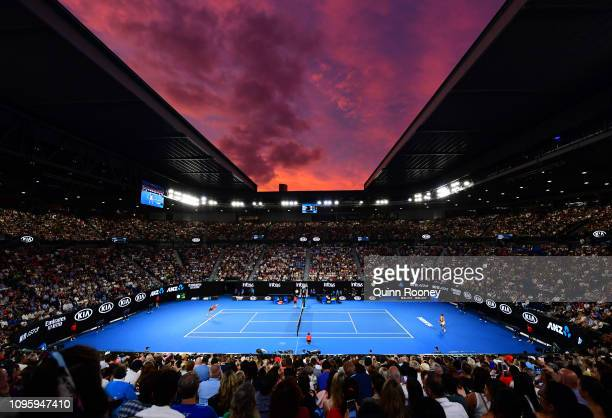 General view of Rod Laver Arena at sunset in the third round match between Alex De Minaur of Australia and Rafael Nadal of Spain during day five of...