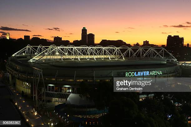 General view of Rod Laver Arena during day six of the 2016 Australian Open at Melbourne Park on January 23, 2016 in Melbourne, Australia.