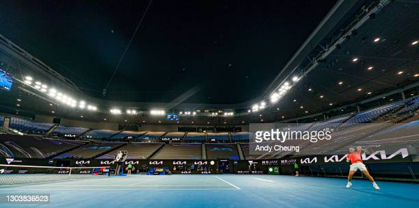 General view of Rod Laver Arena during lockdown while Rafael Nadal of Spain plays a forehand during his Men's Singles Quarterfinals match against...