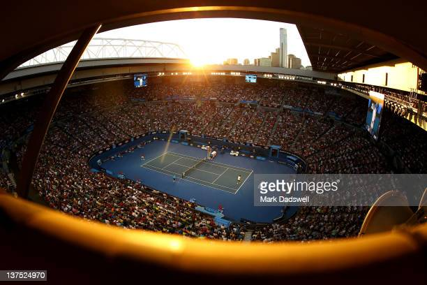 A general view of Rod Laver Arena during the fourth round match between Bernard Tomic of Australia and Roger Federer of Switzerland during day seven...