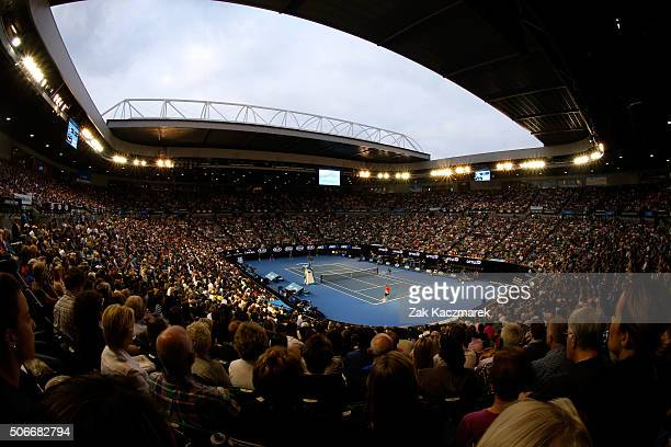 A general view of Rod Laver Arena during the fourth round match between Andy Murray of Great Britain and Bernard Tomic of Australia during day eight...