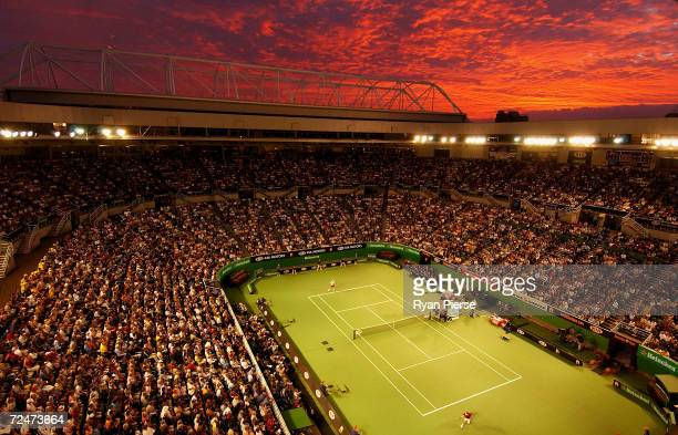 General view of Rod Laver Arena during the Lleyton Hewitt of Australia and Roger Federer of Switzerland match during day eight of the Australian Open...
