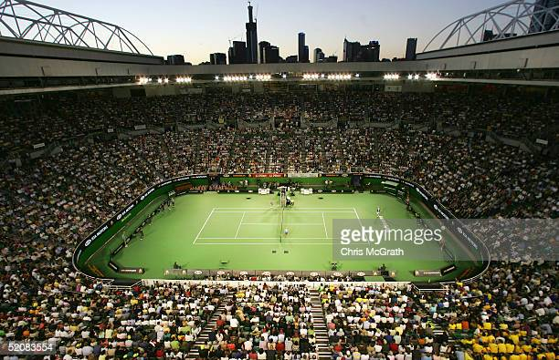 General view of Rod Laver Arena during the Men's Final between Lleyton Hewitt of Australia and Marat Saffin of Russia during day fourteen of the...