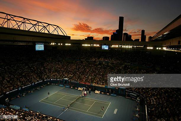 General view of Rod Laver Arena during the men's final match between Novak Djokovic of Serbia and Jo-Wilfried Tsonga of France on day fourteen of the...