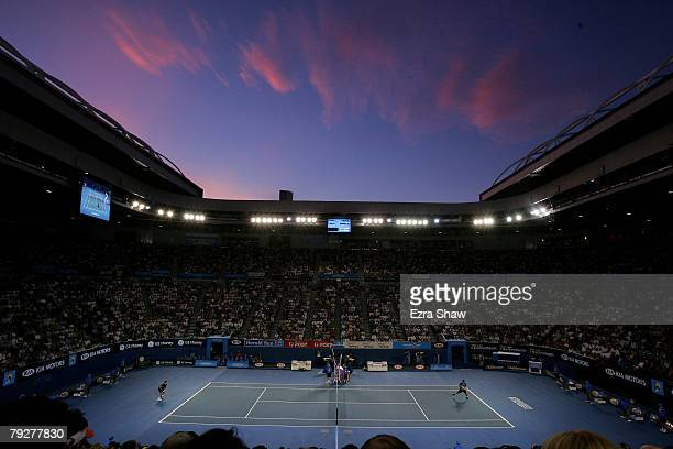 General view of Rod Laver Arena during the men's final match between Novak Djokovic of Serbia and JoWilfried Tsonga of France on day fourteen of the...