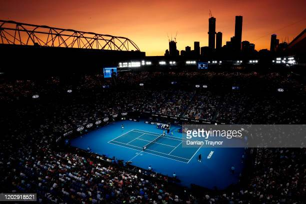 A general view of Rod Laver Arena during the Men's Semifinal match between Roger Federer of Switzerland and Novak Djokovic of Serbia on day eleven of...