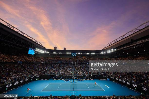 A general view of Rod Laver Arena during the Men's Singles fourth round match between Nick Kyrgios of Australia and Rafael Nadal of Spain on day...