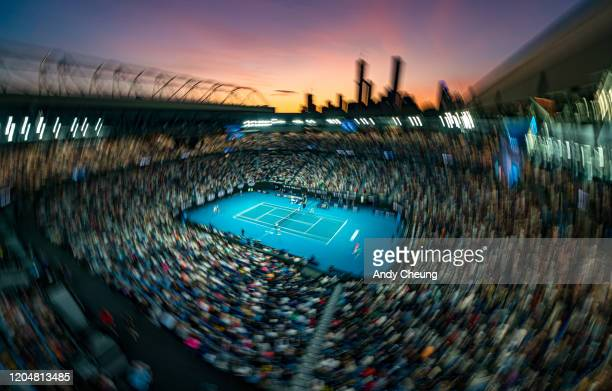 General View of Rod Laver Arena during the Men's Singles match between Rafael Nadal of Spain and Nick Kyrgios of Australia on day eight of the 2020...