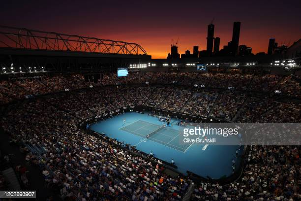 General view of Rod Laver Arena during the Men's Singles Quarterfinal match between Dominic Thiem of Austria and Rafael Nadal of Spain on day ten of...