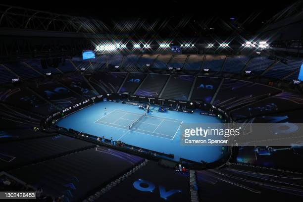 General view of Rod Laver Arena during the Men's Singles Quarterfinals match against Novak Djokovic of Serbia and Alexander Zverev of Germany during...