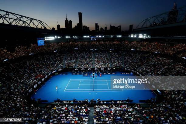 General view of Rod Laver Arena during the Men's Singles Semi Final between Rafael Nadal of Spain and Stefanos Tsitsipas of Greece during day 11 of...