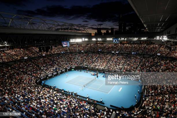 A general view of Rod Laver Arena during the Men's Singles third round match between Roger Federer of Switzerland and John Millman of Australia on...