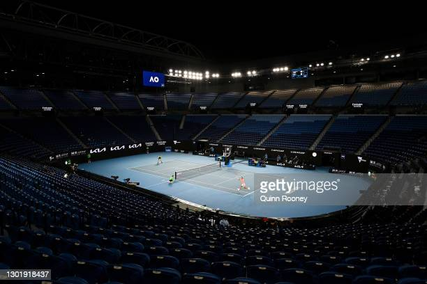 General view of Rod Laver Arena during the Men's Singles third round match between Rafael Nadal of Spain and Cameron Norrie of Great Britain during...