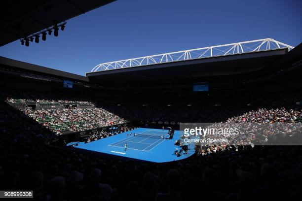 A general view of Rod Laver Arena during the quarter final match between Elina Svitolina of Ukraine and Elise Mertens of Belgium on day nine of the...