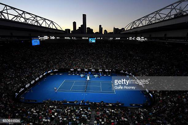 General view of Rod Laver Arena during the quarterfinal match between Milos Raonic of Canada and Rafael Nadal of Spain on day 10 of the 2017...