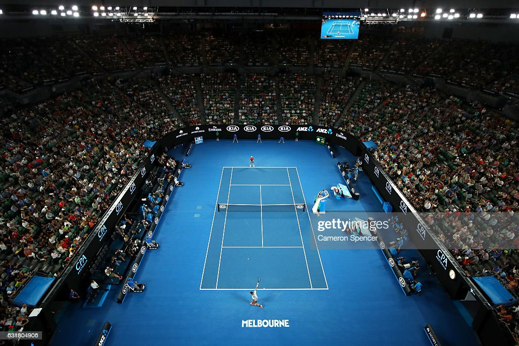 A general view of Rod Laver Arena during the round one mens match between Jurgen Melzer of Austria and Roger Federer of Switzerland on day one of the 2017 Australian Open at Melbourne Park on January 16, 2017 in Melbourne, Australia.
