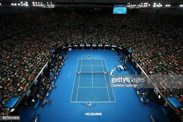 General view of Rod Laver Arena during the round one mens match between Jurgen Melzer of Austria and Roger Federer of Switzerland on day one of the...