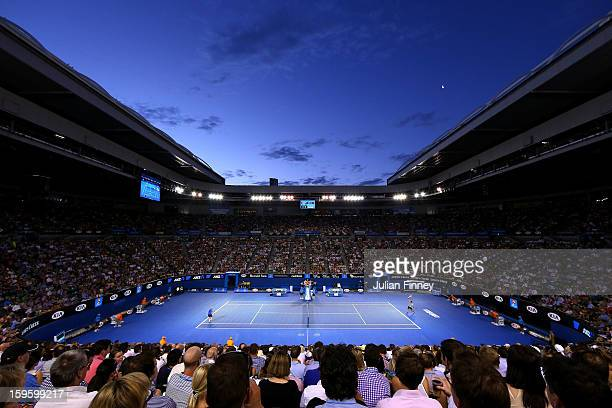 A general view of Rod Laver Arena during the second round match between Nikolay Davydenko of Russia and Roger Federer of Switzerland during day four...
