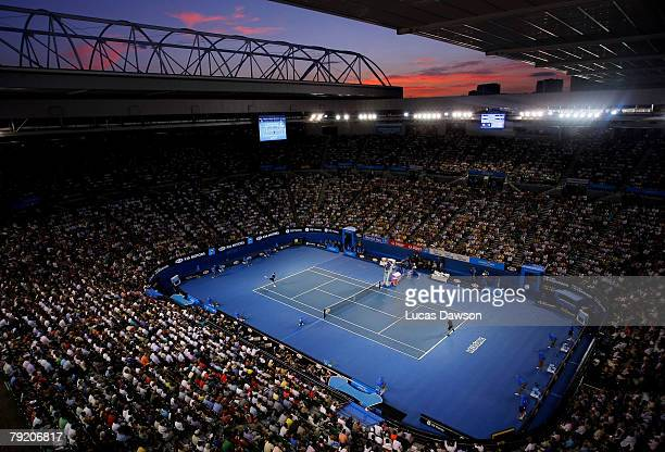 A general view of Rod Laver Arena during the semifinal match between Novak Djokovic of Serbia and Roger Federer of Switzerland on day twelve of the...