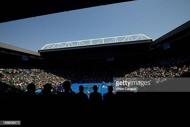 General view of Rod Laver Arena during the women's fourth round match between Victoria Azarenka of Belarus and Elena Vesnina of Russia during day...