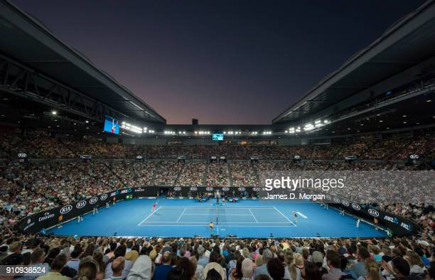A general view of Rod Laver Arena during the women's singles final on day 13 of the 2018 Australian Open at Melbourne Park on January 27 2018 in...