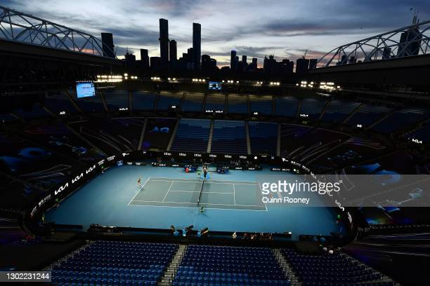 General view of Rod Laver Arena during the Women's Singles fourth round match against Shelby Rogers of the United States and Ashleigh Barty of...