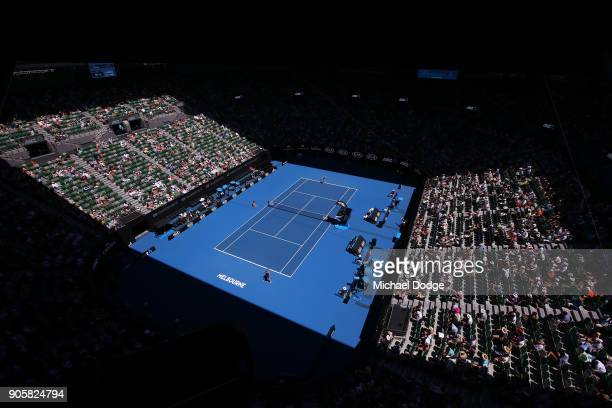 A general view of Rod Laver Arena for the match between Caroline Wozniacki of Denmark and Jana Fett of Croatia on day three of the 2018 Australian...