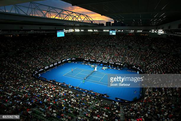 General view of Rod Laver Arena in second round match between Lucie Safarova of the Czech Republic and Serena Williams of the United States on day...