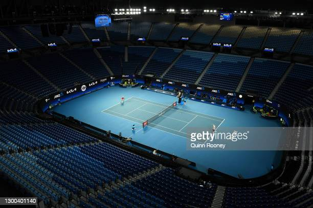 General view of Rod Laver Arena is seen with no spectators during the Group A signals match between Dusan Lajovic of Serbia and Jan-LennardStruff of...