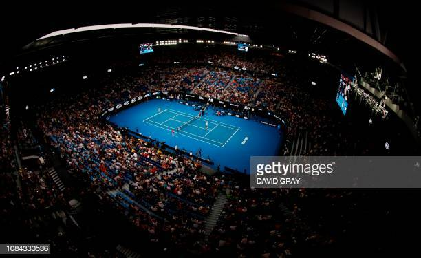 General view of Rod Laver Arena prior to the men's singles match between Switzerland's Roger Federer and Taylor Fritz of the US on day five of the...