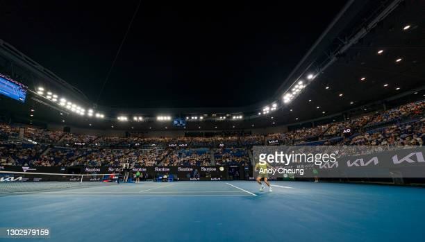 General view of Rod Laver Arena while Stefanos Tsitsipas of Greece plays a backhand in his Men's Singles Semifinals match against Daniil Medvedev of...