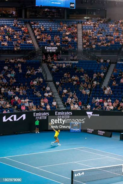 General view of Rod Laver Arena while Stefanos Tsitsipas of Greece serves in his Men's Singles Semifinals match against Daniil Medvedev of Russia...