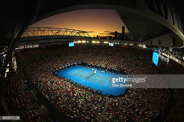 General view of Rod Laver court as Roger Federer of Switzerland plays in his fourth round match against Kei Nishikori of Japan on day seven of the...