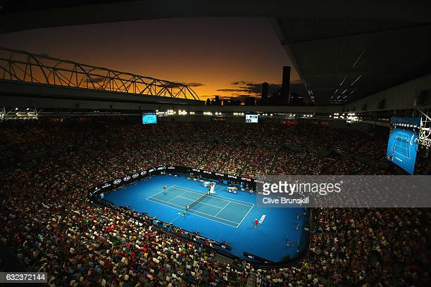 A general view of Rod Laver court as Roger Federer of Switzerland plays in his fourth round match against Kei Nishikori of Japan on day seven of the...