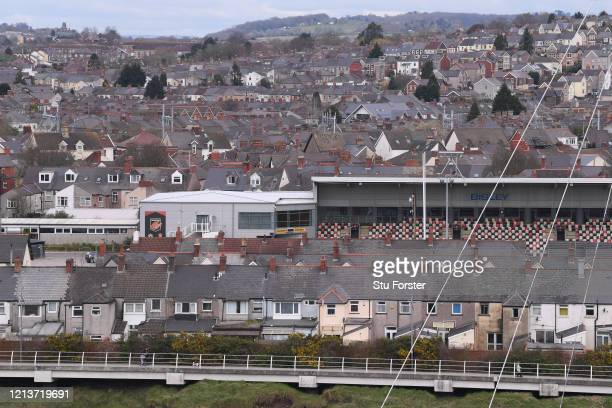 General view of Rodney Parade, home stadium of Newport County Football Club and Newport Gwent Dragons Rugby Union Club is pictured amongst the...