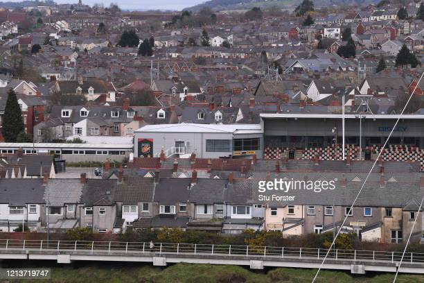 A general view of Rodney Parade home stadium of Newport County Football Club and Newport Gwent Dragons Rugby Union Club is pictured amongst the...