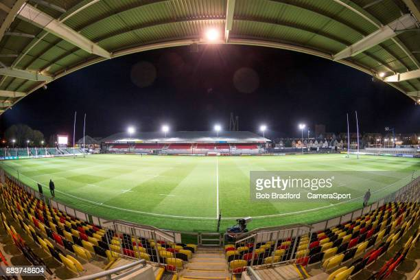 A general view of Rodney Parade home to the Dragons during the Guinness Pro14 Round 10 match between Dragons and Ulster Rugby at Rodney Parade on...
