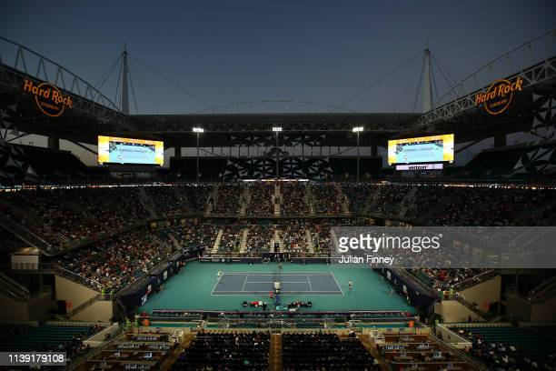 A general view of Roger Federer of Switzerland against Denis Shapovalov of Canada during day twelve of the Miami Open tennis on March 29 2019 in...